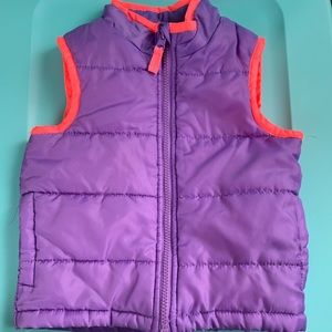 Girls 2T Puffer Purple and Bright Pink Vest